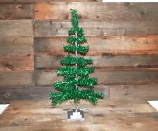 Retro Style Green Christmas Holiday Aluminum Green Tinsel Feather Tree 36""