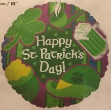 "Happy St. Patrick's Day! Metallic Foil Balloon - 18"" Fill With Helium Or Air"