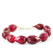 AMAZING 269.30 CTS EARTH MINED PEAR SHAPED FACETED RICH RED RUBY BEADS BRACELET