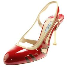 Prada 4028 Womens Red Patent Leather Cut-Out Colorblock Pumps Shoes 8 BHFO