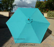 9ft Patio Outdoor Market Umbrella Replacement Canopy Cover Top 6 ribs. Turquoise