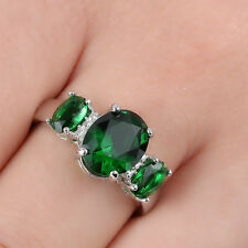 3-Stone Emerald CZ Engagement Size 8.5 Ring 10kt white Gold filled Womens gift