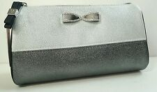 Victoria's Secret Gray Silver Bow Rhinestone BEAUTY BAG MAKEUP COSMETIC CASE
