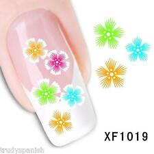 Nail Art Water Decals Wraps Neon Pretty Flowers Floral UV Tips Decoration XF1019