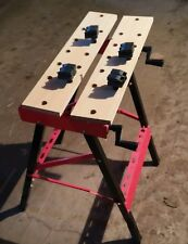 009 Folding Portable Work Stand Bench Red Saw Horse Clamp Vise