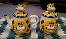 Ceramic Sunflower Cow Sugar And Creamer with Cow Head Lids Yellow Blue