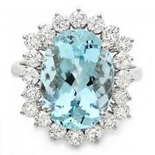 8.35 Carats NATURAL AQUAMARINE and DIAMOND 14K Solid White Gold Ring