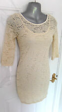 ❤ RIVER ISLAND Gorgeous Size 10 Cream Stretchy Lace Dress Cami Lined FREE UK P&P