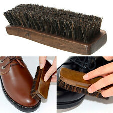 Practical Horse Hair Professional Shoe Shine Polish Buffing Brush Wooden Brown ~