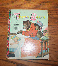 Vintage The Three Bears Bonnie Rebus Story Book 1956 Litho Words & Pictures