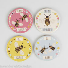 Set of 4 Round Ceramic Bee Coasters in Pink Blue Yellow and Cream with Cork Back