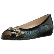 AMALFI by RANGONI $269 IBBIE Black Snake Print LEATHER Loafers SLIP ON SHOE 7 M
