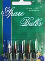 5 Pack Coloured Push In Spare Bulbs for Christmas Tree Lights (Various)