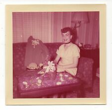 Vintage Photo Pretty Young Woman, Easter Candy, Living Room, 1950's, May