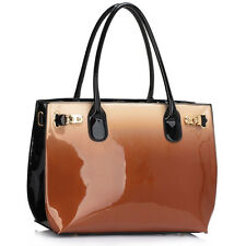 New Multi Colour Ladies Patent Leather Designer Womens Shoulder Bag Handbag Tote