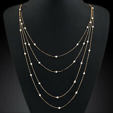 NiX 1392 Gold Pearl Layer Double Chain Necklace Beads Long Stripe Pendant Women