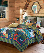 BIG LAKE HOUSE Full Queen QUILT SET : CABIN LODGE MOUNTAIN BEAR DEER FISH