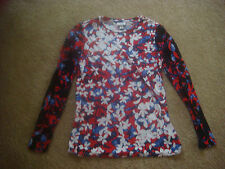 Women's Peter Pilotto by Target Size Small Red & Blue Flower Floral Shirt Top