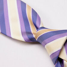 NWT $265 BATTISTI NAPOLI Hidden Pocket Silk Tie Gold-Lavender Ribbon Stripe