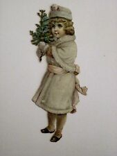 Antique Victorian Vintage Snow Child Die-Cut Scrap w/ Small Christmas Tree *