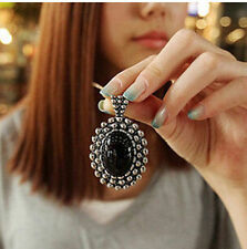 MGCA   Fashion Retro Silver Ellipse Black Jewlery Girls Long Sweater Necklace