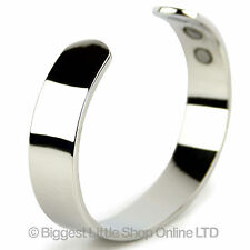 XL Mens Chunky Magnetic Copper Bangle Chrome Finish 6 Magnets 12mm Wide Cuff