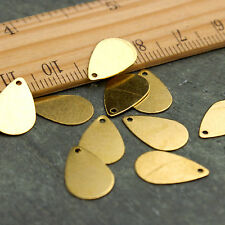 Solid Brass Blank Teardrop Disk Tag Charms 10x15mm be49(60pcs)