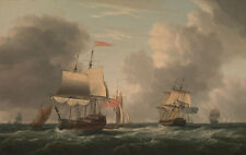 An English Two-Decker Lying Hove to, with Other Ships Serres Schiffe B A3 01420