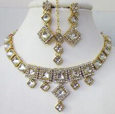 Indian Bollywood Traditional Kundan Bridal Choker CZ Wedding Fashion Jewelry Set