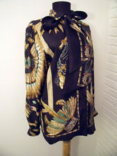 """Hermes Authentic """"Brazil"""" Silk Blouse with Matching Tie Scarf - FR 36 US Sm / M"""