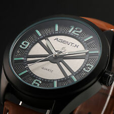 Official  AgentX Military Men's Leather Analog Quartz Wrist Dress Watch + Box