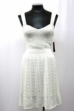 GUESS DRESS CROCHET BORDEAUX SLEEVELESS V NECK POINTELLE SEASHELL WHITE SIZE S