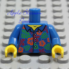 NEW Lego Minifig BLUE SHIRT TORSO - Boy Girl Hawaiian Flower Button Top Upper