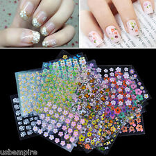 NEW 30 Sheet Mix 3D Nail Stickers Flowers Stick On Nail Art Decals Tips Manicure