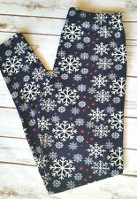 PLUS Size Snowflake Christmas Leggings Blue Holiday Print Buttery Soft Curvy