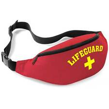 LIFEGUARD RED+YELLOW BELT / BUM BAG FANCY DRESS BEACH WEAR WAIST MONEY POUCH