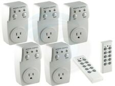 Remote Controlled Switch Socket Outlet 5-Pack 5 Sockets with 2 Remotes