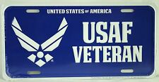 USAF VETERAN LICENSE PLATE Embossed Aluminum NEW Air Force Armed Forces USA Tin