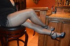 Consay Sz 3 = MED Favourite Gloss Shine Pantyhose Grafit Off-black actual pics!