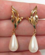 Richelieu Gold Tone Faux Pearl Earrings (14k Gold Posts Only) ~ 8-D6351