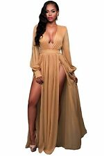 Abito lungo aperto nudo scollo Spacco Scollo Ballo Maxi Slit Open Party Dress M