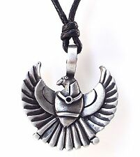 Pewter Egyptian PHOENIX Pendant on Black Cord Necklace Nickel Free