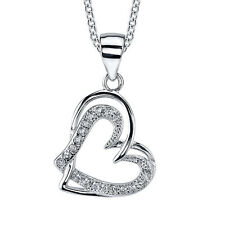 Sterling Silver CZ Double Heart Hanging Pendant Necklace with Cubic Zirconias