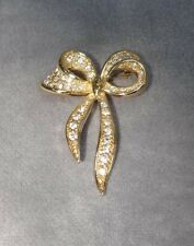 VTG Napier Rhinestone Studded Bow Ribbon Pin~Goldtone~New in Box