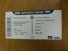 30/10/2013 Ticket: Newcastle United v Manchester City [Football League Cup] (Fol