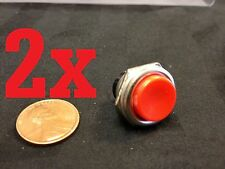 2x Metal MOUNTS MOMENTARY N/O normally open PUSH BUTTON SWITCH DC RED on/off b9