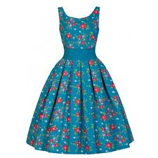 NEW VINTAGE 50'S STYLE LANA TEAL FLORAL ROCKABILLY PARTY SWING DRESS SIZE 22