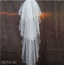 3T White Cathedral Wedding Women Bride Bridal Veil Long Gown w/Pearls 1.25M*1M