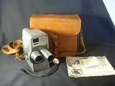 Old Vtg Tower Model 7-92 8MM Movie Camera Leather Carry Bag Paperwork
