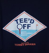 NEW TOMMY BAHAMA Christmas NAVY BLUE COTTON Tee'd Off MENS Golf SHIRT MEDIUM M